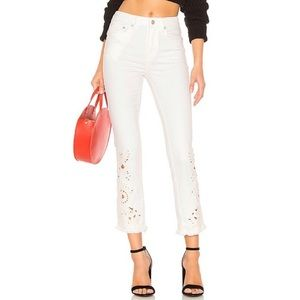 Free People Cutwork High-Rise Cigarette Jeans NWOT